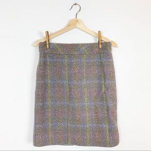 J CREW 100% Wool Pencil Skirt Plaid Periwinkle 4